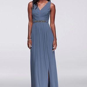 David's Bridal Steel Blue Long Mesh Dress Beaded 6